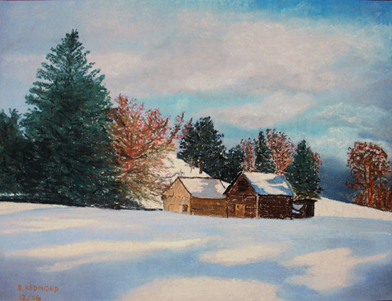 Pastel Snow Scene Winter Scene Pastel on Paper
