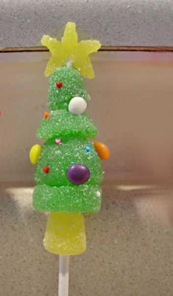 a christmas tree i used large and small gumdrops to give it the correct shape